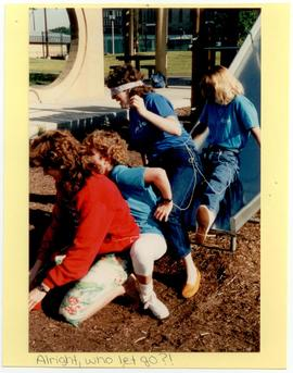 Washington University Occupational Therapy students completing an obstacle course.