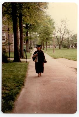 Unidentified woman wearing academic robes, Washington University School of Medicine, Program in O...
