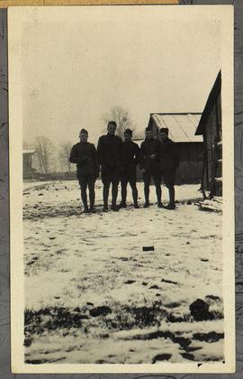 Group portrait of five unidentified members of Base Hospital 21.