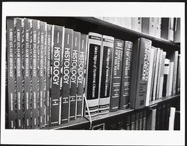 Close-up view of a bookshelf, Washington University School of Medicine.