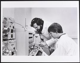 Dr. Jim Krause and laboratory technician Mark Carter, Division of Biology and Biomedical Sciences...