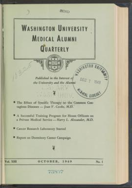 Washington University Medical Alumni Quarterly, October 1949