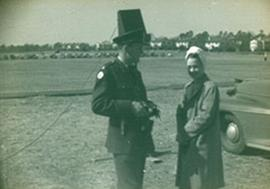 Unidentified officer and nurse, Fort Benning, Georgia.