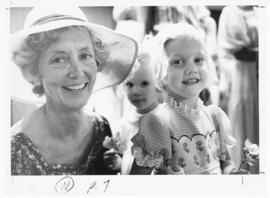 Group portrait of a woman and two young girls at a St. Louis Children's Hospital Auxiliary Annual...