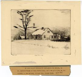 Etching depicting an exterior view of the home where William Beaumont was born, Lebanon, Connecti...