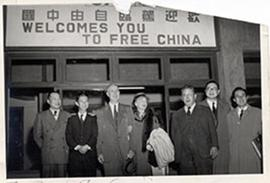 E.V. and Alice Cowdry arriving at the Taipei airport, Taiwan.