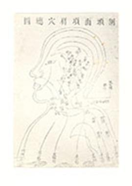 Chinese medical diagram of a head, neck, and shoulders.