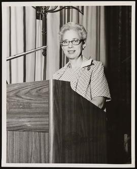 Estelle Brodman speaking at a Medical Library Association meeting.