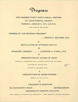 Program from the one hundred thirty-sixth annual meeting of the St. Louis Medical Society.