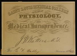 St. Louis Medical College course card, Lectures on Physiology and Medical Jurisprudence by J.A. W...