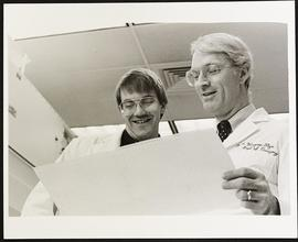 Dr. M. Wayne Flye with third year student William Plautz, Department of Surgery, Washington Unive...