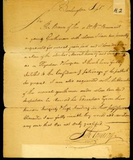 Seth Pomeroy [Burlington, VT]. Letter of recommendation for W. Beaumont. September 1812.
