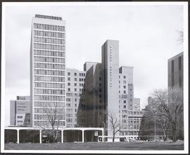 Exterior view of Queeny Tower and the Rand-Johnson wing, Barnes Hospital.