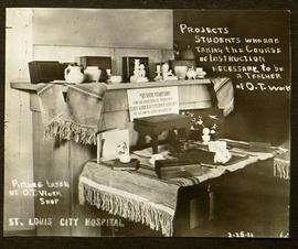 View of a display of crafts made by St. Louis School of Occupational Therapy students.