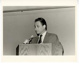 Samuel B. Guze giving an address from a podium at the Max A. Goldstein rare book collection dedic...