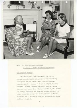 Mrs. William J. Ely, Mrs. William L. Davis, and Harriet Spoehrer discussing plans for the St. Lou...