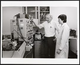 Dr. Carl Frieden and an unidentified woman, Department of Biochemistry, Washington University Sch...