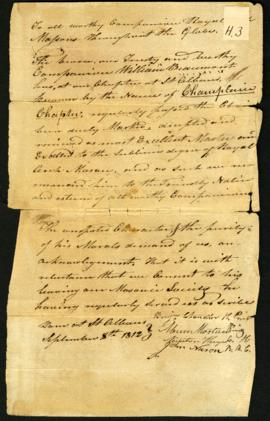 Champlain Masonic Lodge, character reference for W. Beaumont. September 8, 1812.