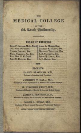 Medical College of St. Louis University, catalogue of the winter course, 1842-1843.