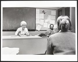 Beverly Krause with two unidentified senior students, Nurse Anesthesia Program, Washington Univer...