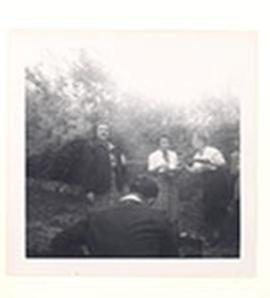 Unidentified women and Valentina Suntzeff at her garden party.