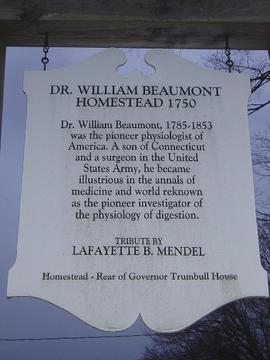 Dr. William Beaumont Homestead sign, Lebanon, Connecticut.
