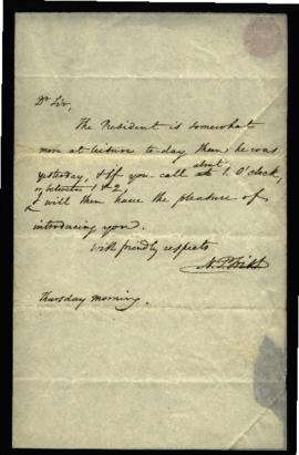 N.P. Trist to W. Beaumont (at Joseph Lovell's Office) regarding: invitation to call on the Presid...