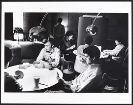 Group of students playing cards, Washington University School of Medicine.