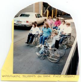 Students learning to use wheelchairs, Washington University School of Medicine, Program in Occupa...