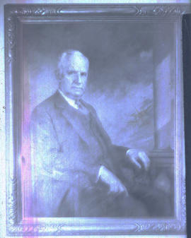 Photograph of a painted portrait of Vilray P. Blair.