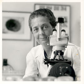 Portrait of Rita Levi-Montalcini in her laboratory, sitting behind a microscope.