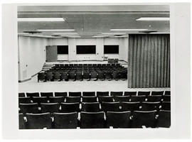 Interior view of a lecture hall, Washington University School of Medicine.