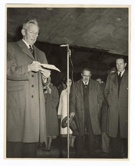 Harry Wallace Brookings speaking at the dedication of the Cancer Research Building, Washington Un...