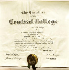 Doctor of Laws degree certificate, Central College of Fayette, Missouri.