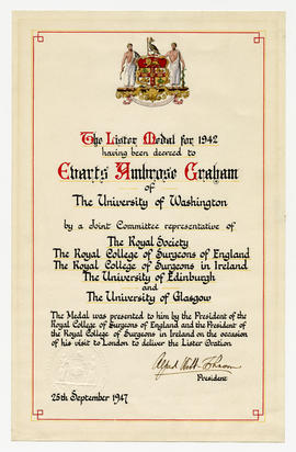 Royal College of Surgeons Lister Award Certificate.