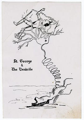 """St. George and The Dendrite"" cartoon."