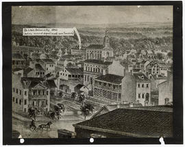 Drawing of a view of St. Louis with an arrow indicating St. Louis University.