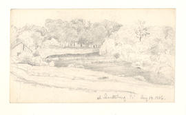 Rural scene with barn, trees, and river. Aug. 14, 1886.