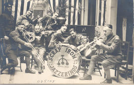 "Group portrait of the ""Scrap Iron Jazzerinos"" with their instruments."