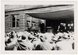 Man, likely George Edgar Vinvent, speaking at the dedication ceremony for Washington University S...