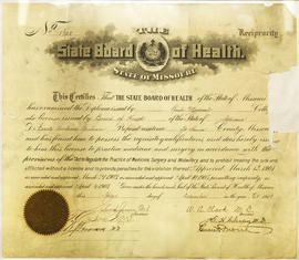 Missouri State Board of Health Diploma.