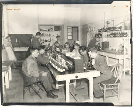 Men and women at work in the Blood Bank, 21st General Hospital, Ravenel Hospital Hospital, Mireco...