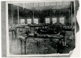 Interior view of the anatomy room with dissected cadavers on tables, Barnes Medical College.