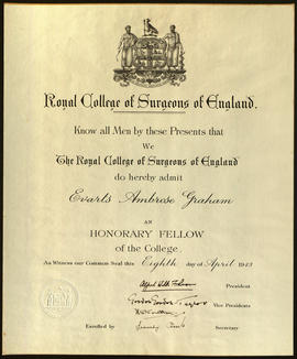 Honorary fellowship certificate to the Royal College of Surgeons of England.