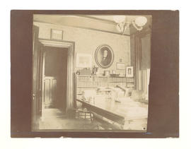 Dr. Gustav Baumgarten's library and worktable. Chestnut Street, St. Louis, MO.