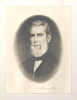 Photo reproduction of portrait of Dr. Frederick Ernst Baumgarten, painted ca. 1855, and given tex...