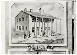 Drawing depicting an unidentified medical school building.