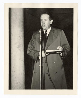 Leonard Andrew Scheele, U.S. Public Health Service Surgeon General 1948-1956, speaking at the ded...