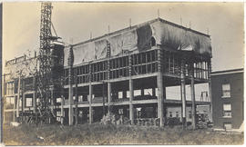 View of the North or the South Building under construction.