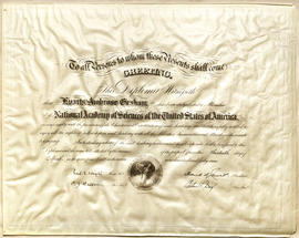 Certificate of membership to the National Academy of Sciences of the United States.
